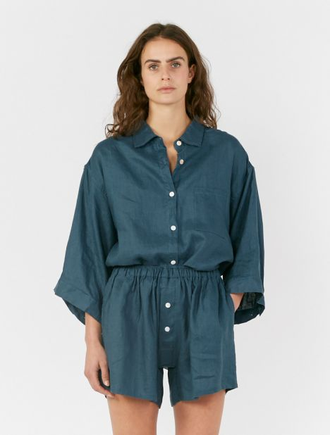 03 Linen Loungewear Set - Blue