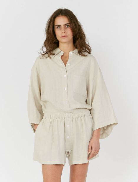 03 Linen Loungewear Set - Oatmeal