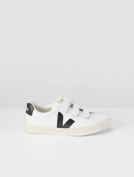 3-Lock Leather Sneaker - Extra White / Black