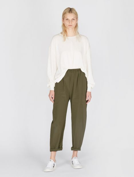 Paros Cotton Trouser - Moss