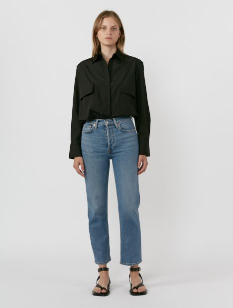 70s Stovepipe High-Rise Jean - Blue