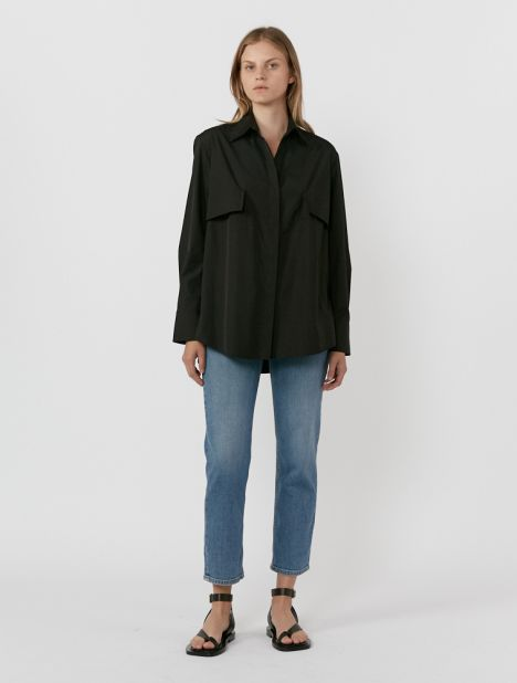 Exclusive | Layered Cotton Shirt - Black