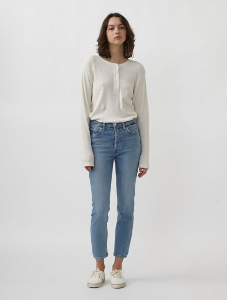 90s High-Rise Ankle Crop Jean - Light Stone