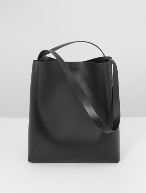 Sac Leather Tote Bag -  Black