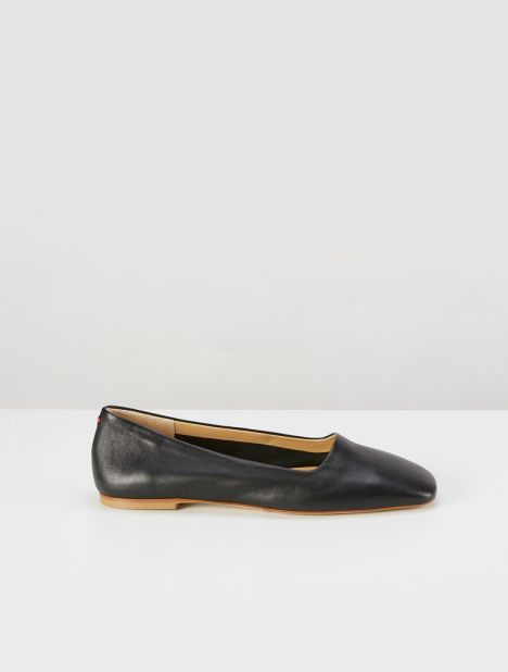 Beau Square Toe Flat - Black