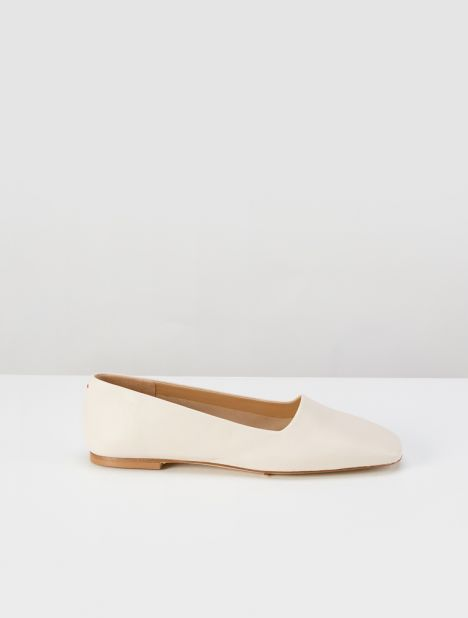 Beau Square Toe Flat - Cream