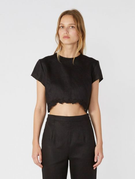 Alena Cropped Linen Top