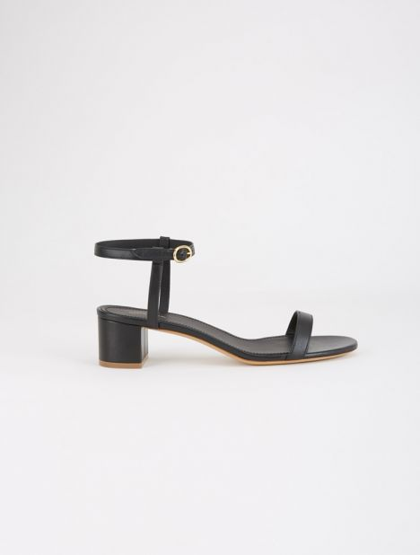 Ankle Strap Leather Sandal - Black