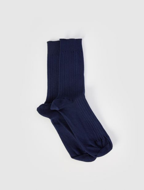 Rib Ankle Socks - Navy