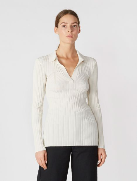 Arradon Rib Polo Knit - Ivory