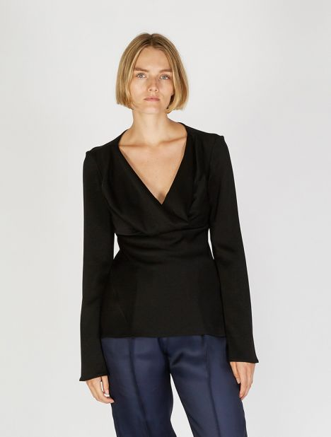 Arshile Cowl Neck Top - Black
