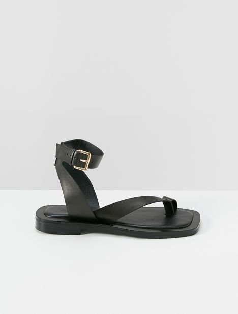Asher Leather Sandal - Black