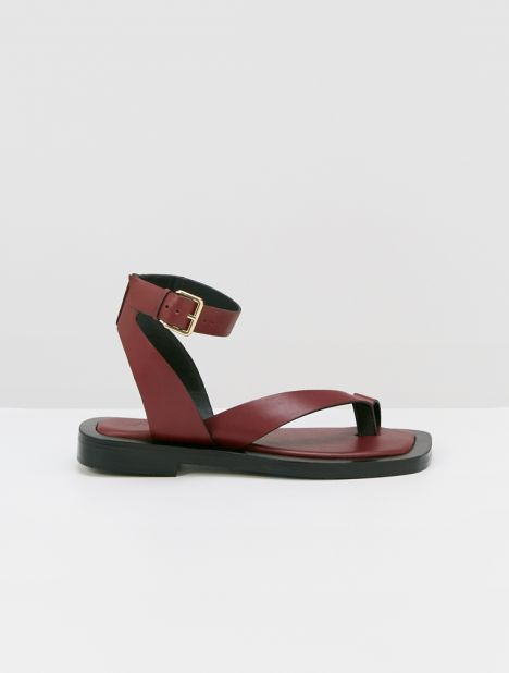 Asher Leather Sandal - Burgundy