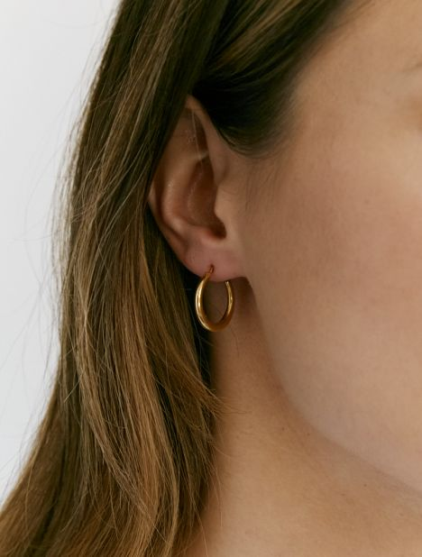 Small Thin Snake Earrings - Gold