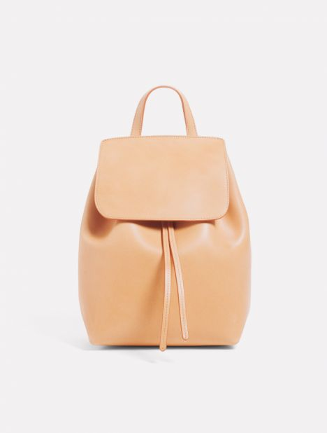 Mini Leather Backpack - Cammello / Rosa