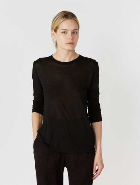Long Sleeve Bamboo Jersey Tee - Black