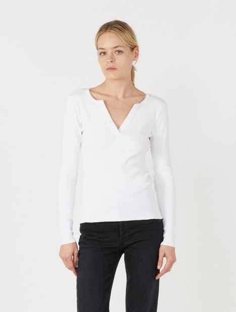 Fitted Rib V-Neck Long Sleeve Top - White