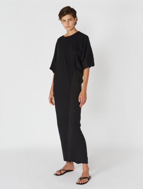 Asymmetric Longerline Dress - Black