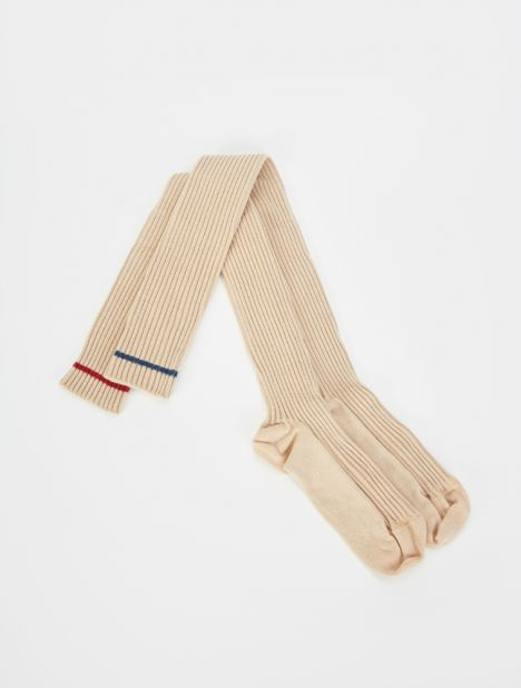 Overknee Cotton Rib Socks - Beige