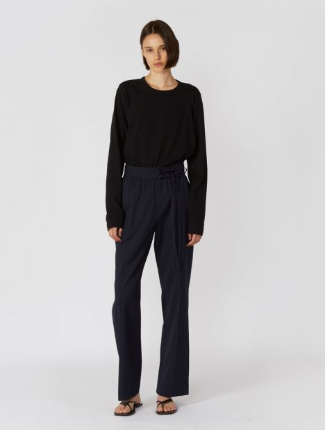Belted Crepon Pant - Navy