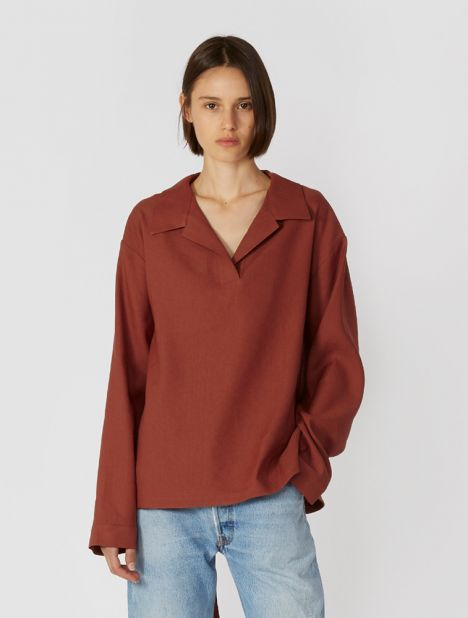 Waistband Blouse - Brick