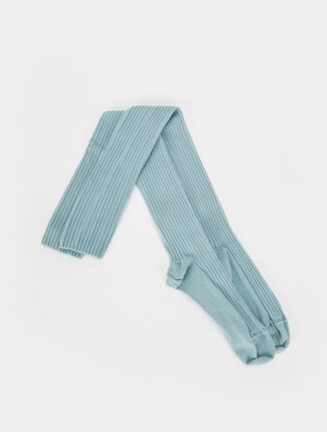 Overknee Cotton Rib Socks - Blue