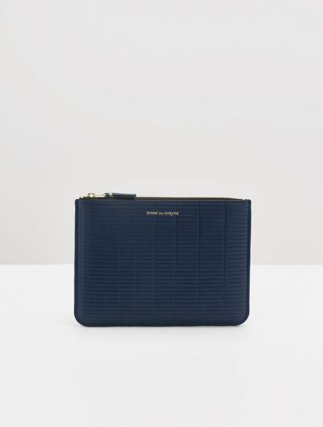 Embossed Brick Large Leather Zip Pouch - Navy