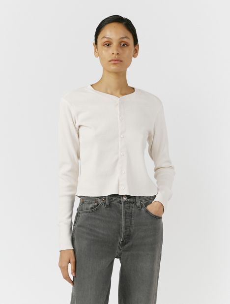 X Hanes 50's Button-Up Long Sleeve Top