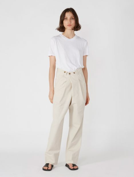Cotton Twill Button Wrap Pant - Pewter