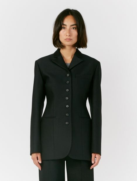 Button-Point Wool-Silk Blazer
