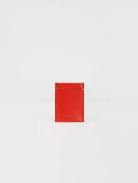 Leather Card Sleeve - Red
