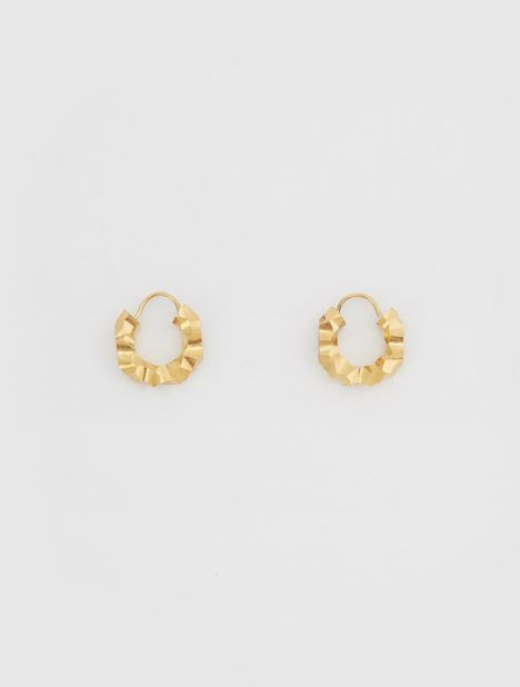 Carved Hoop Earrings - Gold