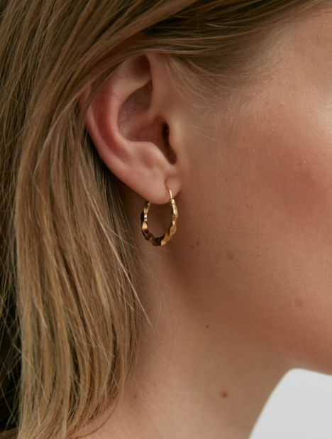 Thin Carved Snake Hoop Earrings - Gold