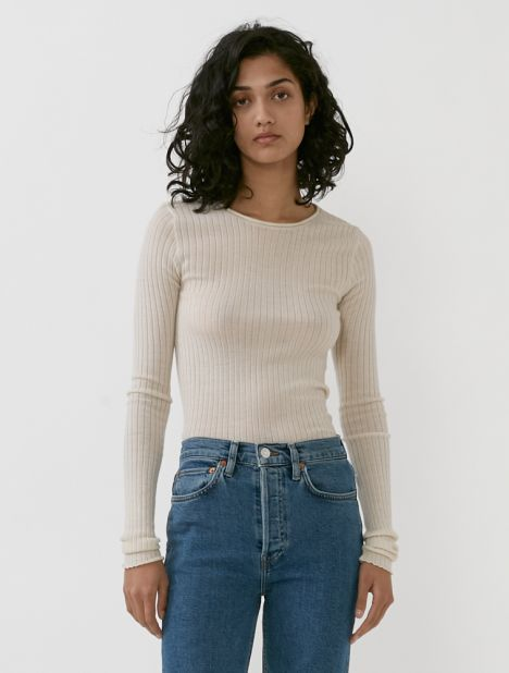 Ribbed Cashmere Pullover - Ivory