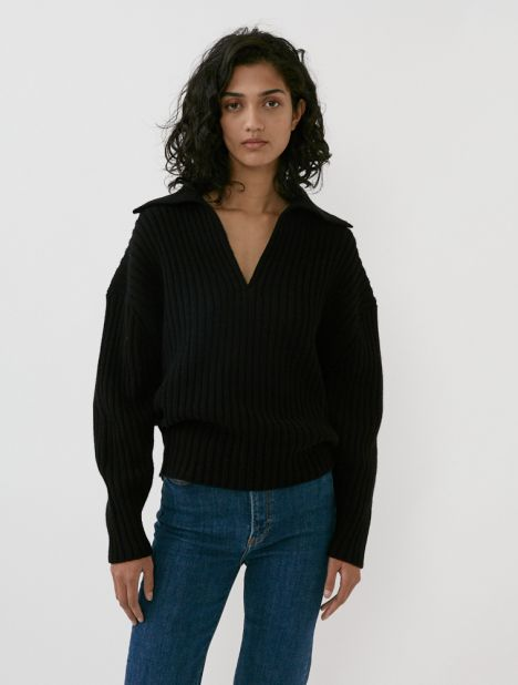 Chunky Cashmere-Wool Polo Knit