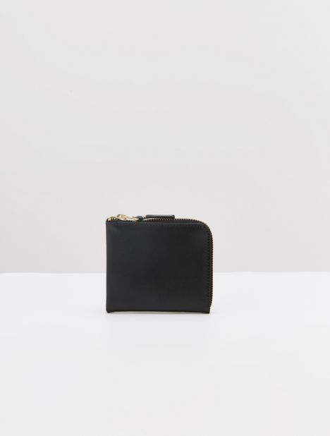 Classic Half Zip Leather Wallet - Black