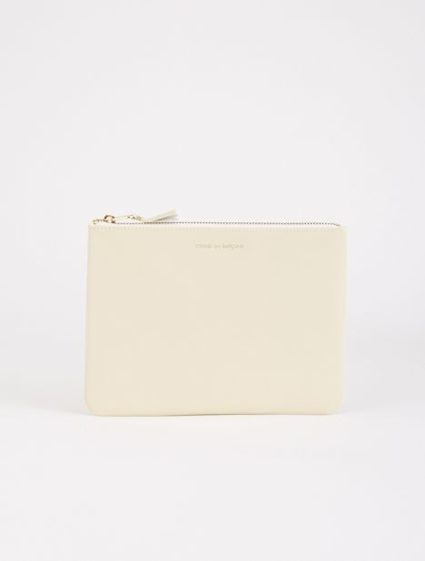 Classic Leather Zip Pouch - Off-White