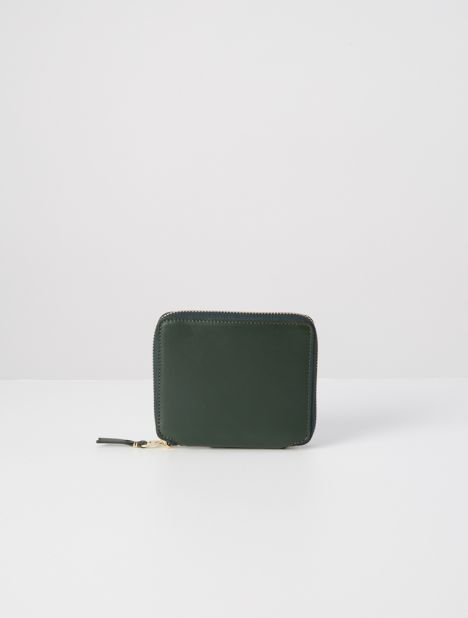 Classic Square Leather Zip Wallet - Bottle Green