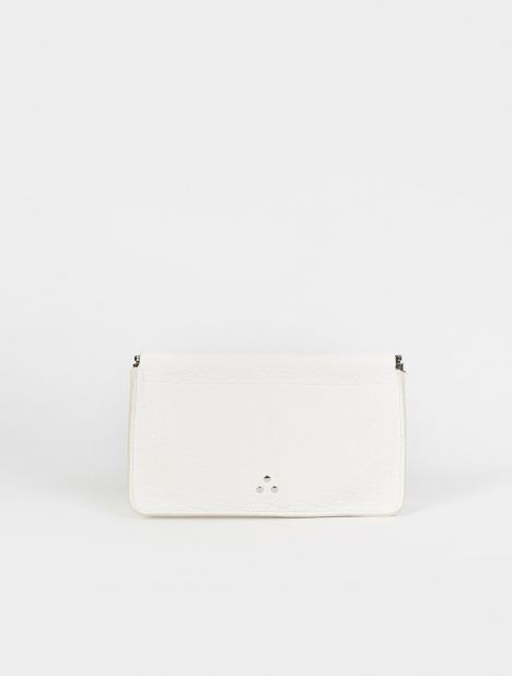 Clic Clac Medium Leather Clutch - White