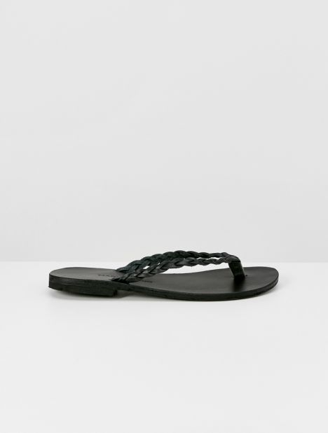 Clio Braided Leather Flip Flops - Black