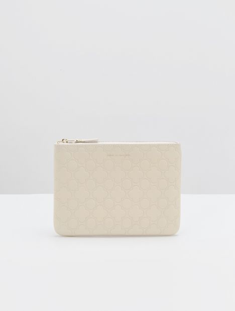 Embossed Clover Large Leather Zip Pouch - Off-White