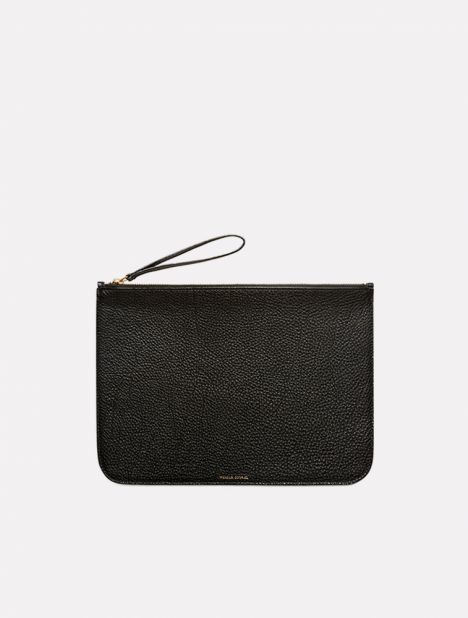 Tumble Leather Large Clutch - Black