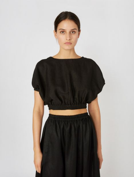 Cropped Cocoon Blouse - Black