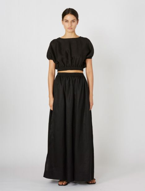 Gathered Linen Skirt - Black