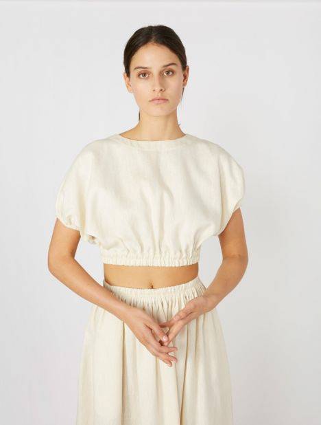 Cropped Cocoon Blouse - Ivory