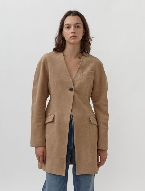 Collarless Faux Suede Coat