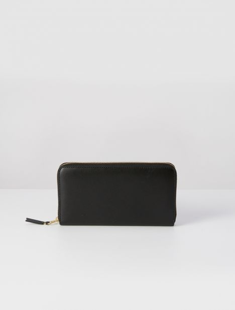 Classic Leather Continental Wallet - Black