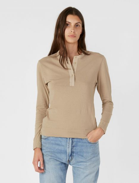 Contrast Placket Long Sleeve T-Shirt - Tan