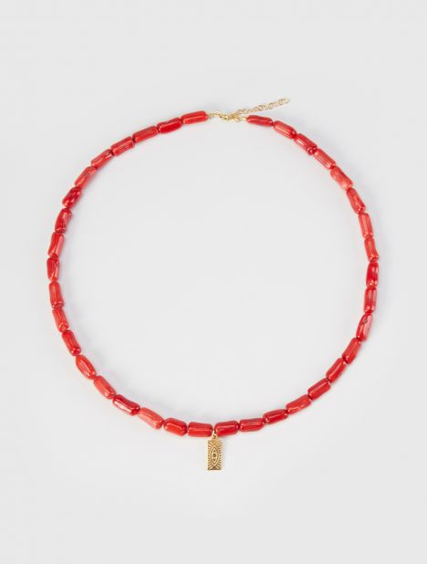 Hermina Tag Coral Necklace - Red