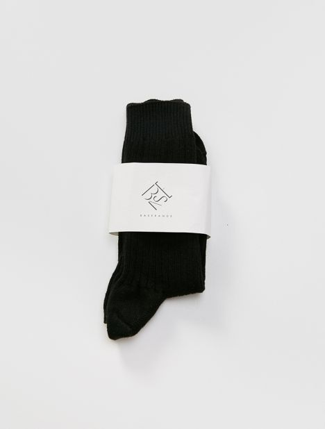 Cotton Rib Ankle Socks - Black